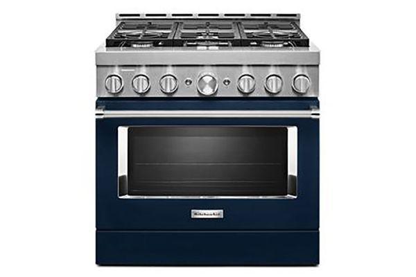 "Large image of KitchenAid 36"" Ink Blue Smart-Commercial-Style Gas Range With 6 Burners - KFGC506JIB"