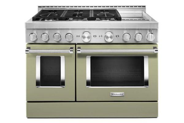 "Large image of KitchenAid 48"" Avocado Cream Smart Commercial-Style Gas Range With Griddle - KFGC558JAV"