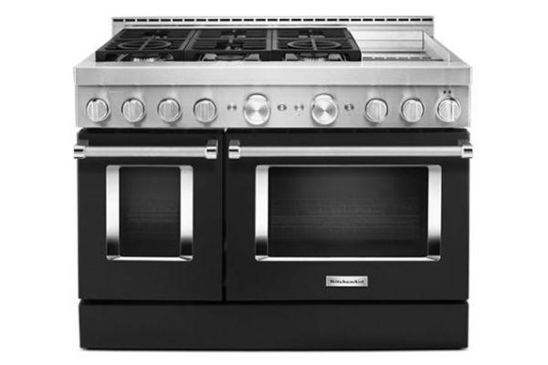 "Large image of KitchenAid 48"" Imperial Black Smart Commercial-Style Gas Range With Griddle - KFGC558JBK"