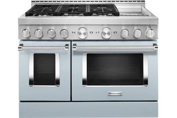 "Large image of KitchenAid 48"" Misty Blue Smart Commercial-Style Gas Range With Griddle - KFGC558JMB"