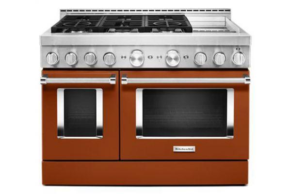 "Large image of KitchenAid 48"" Scorched Orange Smart Commercial-Style Gas Range With Griddle - KFGC558JSC"
