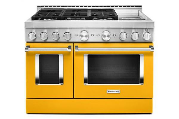 """Large image of KitchenAid 48"""" Yellow Pepper Smart Commercial-Style Gas Range With Griddle - KFGC558JYP"""