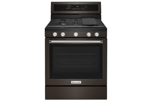 "Large image of KitchenAid 30"" Black Stainless Steel Freestanding Gas Range - KFGG500EBS"