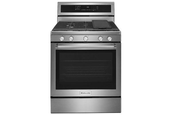 "Large image of KitchenAid 30"" Stainless Steel Freestanding Gas Range - KFGG500ESS"