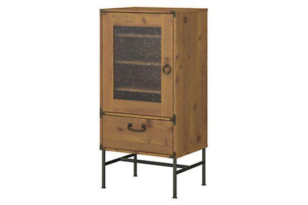 Large image of Bush Furniture Vintage Golden Pine Ironworks Audio Storage Cabinet - KI50107-03
