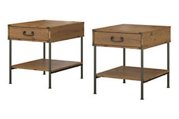 Large image of Bush Furniture Vintage Golden Pine Set Of 2 Ronworks End Tables - KI50110-03