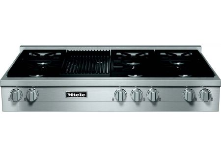 """Miele 48"""" Gas Stainless Steel Rangetop With Grill - KMR13551GRG"""