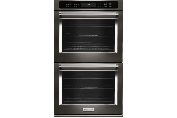 """Large image of KitchenAid 27"""" Black Stainless Steel Double Wall Oven - KODE507EBS"""