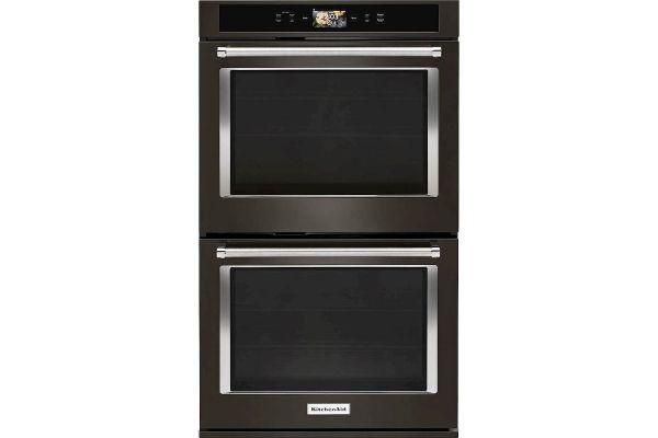 """Large image of KitchenAid Smart Oven+ 30"""" Black Stainless Double Convection Wall Oven - KODE900HBS"""