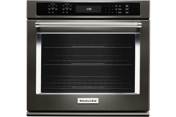 "Large image of KitchenAid 27"" Black Stainless Steel Single Wall Oven - KOSE507EBS"