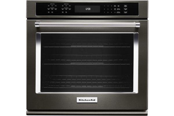 "Large image of KitchenAid 27"" Black Stainless Steel Single Wall Oven - KOSE507EBS"