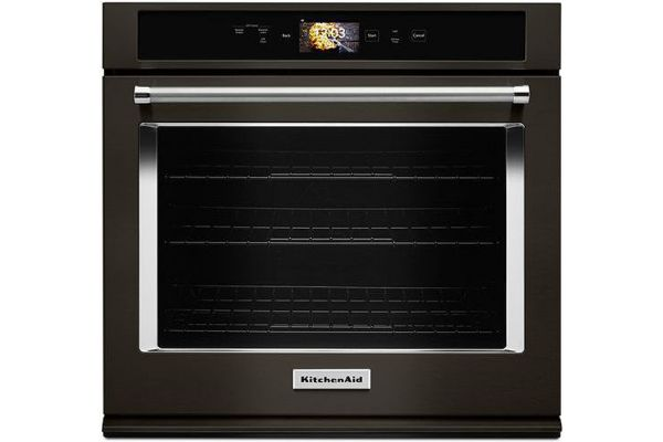 """Large image of KitchenAid Smart Oven+ 30"""" Black Stainless Single Convection Wall Oven - KOSE900HBS"""