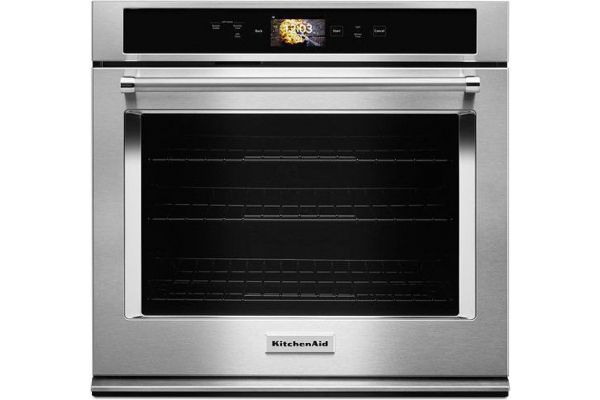 """Large image of KitchenAid Smart Oven+ 30"""" Stainless Steel Single Convection Wall Oven - KOSE900HSS"""