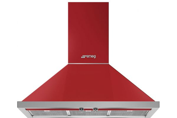 "Large image of Smeg Portofino Aesthetic 36"" Red Chimney Hood - KPF36URD"