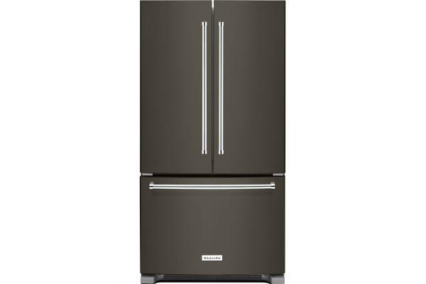 Large image of KitchenAid 20 Cu. Ft. Black Stainless Steel Counter-Depth French Door Refrigerator - KRFC300EBS