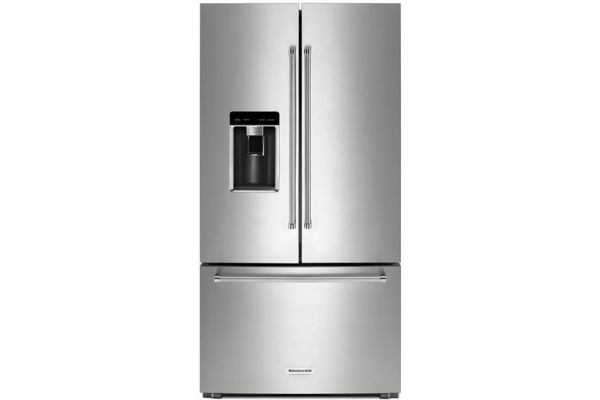 Large image of KitchenAid 23.8 Cu. Ft. PrintShield Stainless Steel Counter-Depth French Door Refrigerator - KRFC704FPS