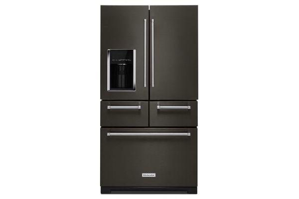 "Large image of KitchenAid 36"" PrintShield Black Stainless Steel Multi-Door Freestanding Refrigerator With Platinum Interior Design - KRMF706EBS"