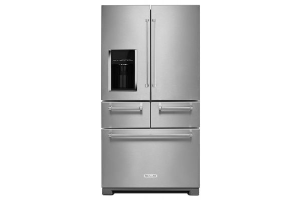 "Large image of KitchenAid 36"" PrintShield Stainless Steel Multi-Door Freestanding Refrigerator With Platinum Interior Design - KRMF706ESS"