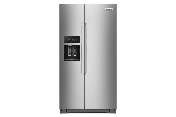 Large image of KitchenAid 19.9 Cu. Ft. PrintShield Stainless Steel Counter-Depth Side-By-Side Refrigerator With Exterior Ice And Water Dispenser - KRSC700HPS