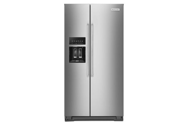 KitchenAid 22.6 Cu. Ft. Stainless Steel Counter-Depth Side-By-Side Refrigerator - KRSC703HPS