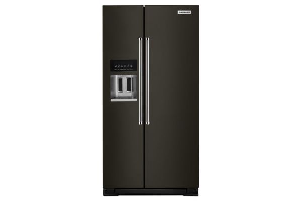 Large image of KitchenAid 24.8 Cu. Ft. PrintShield Black Stainless Steel Side-By-Side Refrigerator With Exterior Ice And Water Dispenser - KRSF705HBS