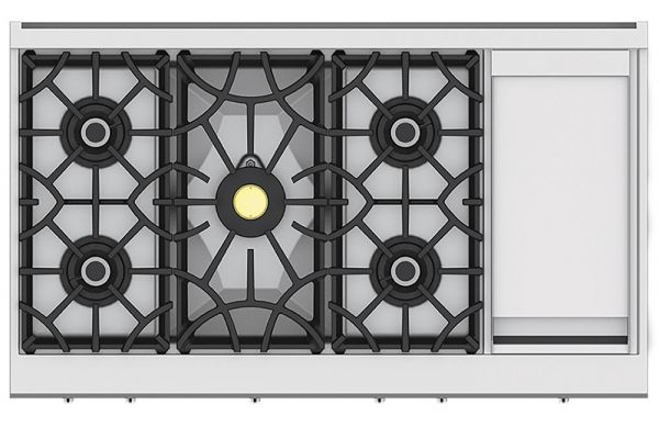 "Large image of Hestan KRT Series 48"" Stainless Steel 5-Burner Gas Rangetop With 12"" Griddle - KRT485GD-NG"