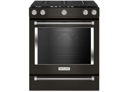"KitchenAid 30"" Black Stainless Steel Slide-In Gas Range - KSGG700EBS"