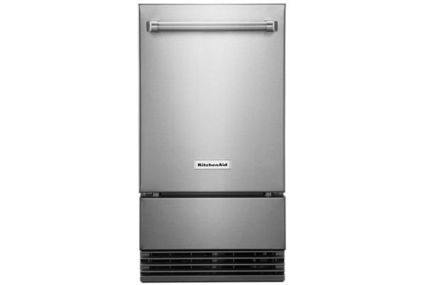 """Large image of KitchenAid 18"""" Stainless Steel Outdoor Automatic Ice Maker - KUIO338HSS"""