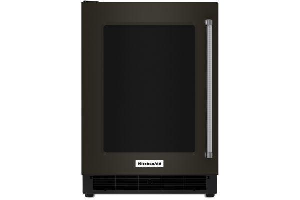 "Large image of KitchenAid 24"" Black Stainless Steel Undercounter Refrigerator - KURL304EBS"