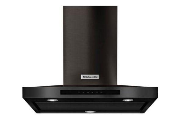 "Large image of KitchenAid 30"" Black Stainless Steel With PrintShield Wall-Mount Canopy Hood - KVWB600HBS"