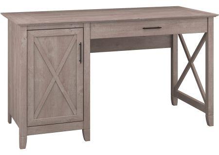 Bush Furniture Key West Collection Washed Grey Single Pedestal Desk - KWD154WG-03
