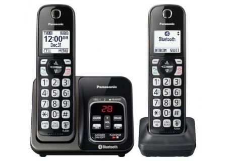 Panasonic Metallic Black Link2Cell Bluetooth Cordless Phone With 2 Handsets - KX-TGD562M