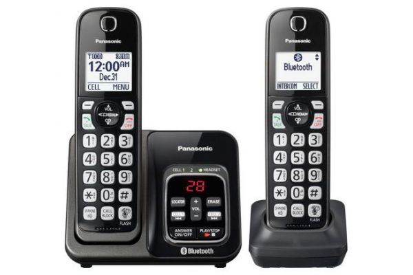 Large image of Panasonic Metallic Black Link2Cell Bluetooth Cordless Phone With 2 Handsets - KX-TGD562M