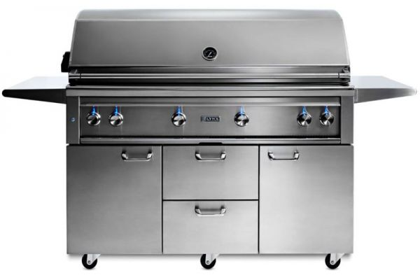 "Large image of Lynx Professional 54"" Stainless Steel Freestanding Natural Gas Grill - L54TRFNG"