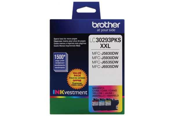 Brother INKvestment Super High-Yield 3 Color Ink Toner Cartridge Pack - LC30293PK