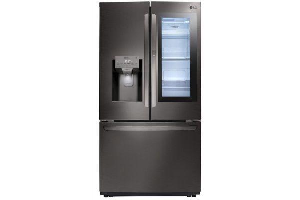 Large image of LG 22 Cu. Ft. PrintProof Black Stainless Steel Smart Wi-Fi Enabled InstaView Door-In-Door Counter-Depth Refrigerator - LFXC22596D