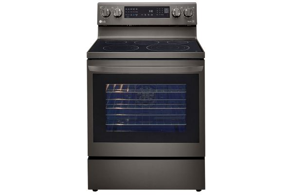 Large image of LG 6.3 Cu Ft. Black Stainless Steel Smart Electric Single Oven InstaView Range With AirFry - LREL6325D
