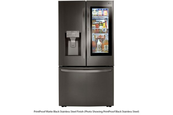 Large image of LG 24 Cu. Ft. PrintProof Matte Black Stainless Steel Smart Wi-Fi Enabled InstaView Door-In-Door Counter-Depth Refrigerator With Craft Ice - LRFVC2406M