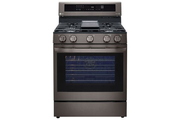 Large image of LG 5.8 Cu. Ft. PrintProof Black Stainless Steel Smart Wi-Fi Enabled True Convection InstaView Gas Range With AirFry - LRGL5825D