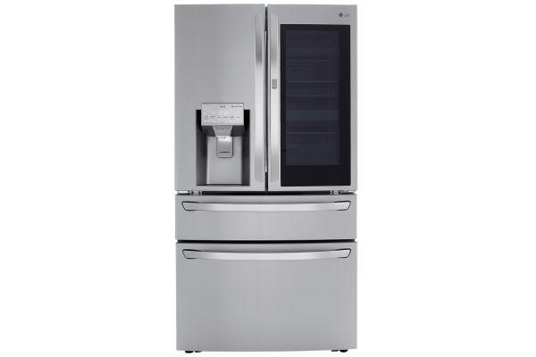 Large image of LG 23 Cu. Ft. PrintProof Stainless Steel Smart Wi-Fi Enabled InstaView Door-In-Door Counter-Depth Refrigerator With Craft Ice Maker - LRMVC2306S