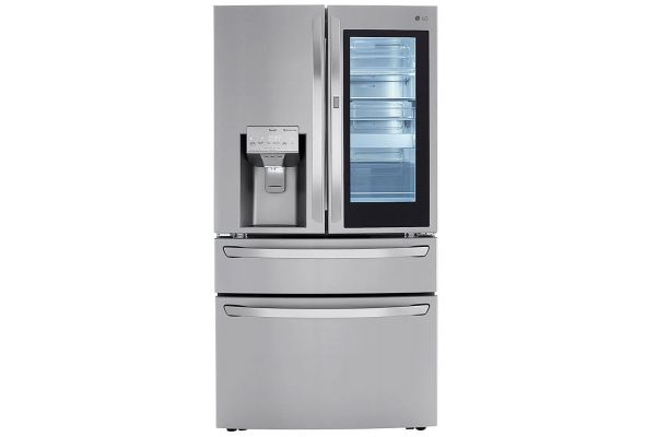 Large image of LG 30 Cu. Ft. PrintProof Stainless Steel Smart Wi-Fi InstaView Door-In-Door Refrigerator With Craft Ice Maker - LRMVS3006S
