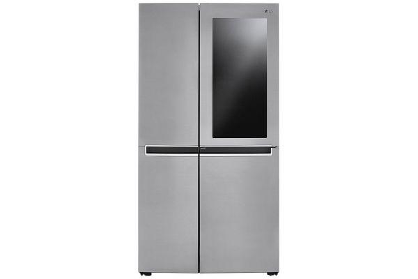 Large image of LG 27 Cu. Ft. Fingerprint Resistant Platinum Silver Side-By-Side Refrigerator With InstaView Door-In-Door - LRSES2706V