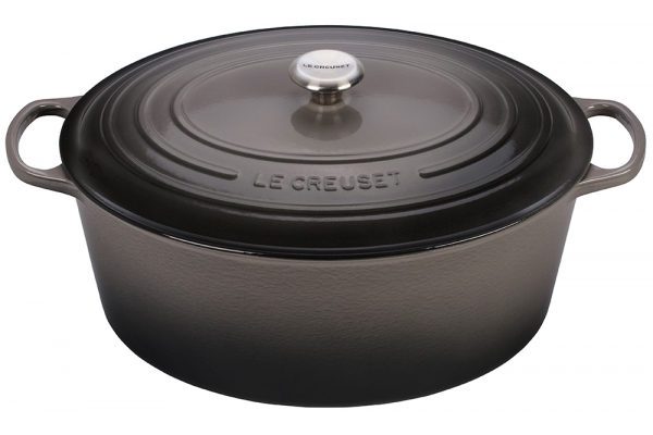 Large image of Le Creuset Oyster 1 Qt. Oval Dutch Oven - LS2502-177FSS