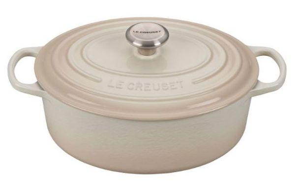 Large image of Le Creuset 9.5 Qt. Meringue Oval Dutch Oven - LS2502-35716SS