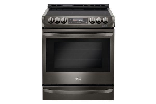 "Large image of LG 30"" Black Stainless Steel Slide-In Electric Range - LSE4613BD"