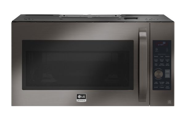 LG STUDIO 1.7 Cu. Ft. Black Stainless Steel Over-The-Range Convection Microwave Oven - LSMC3089BD
