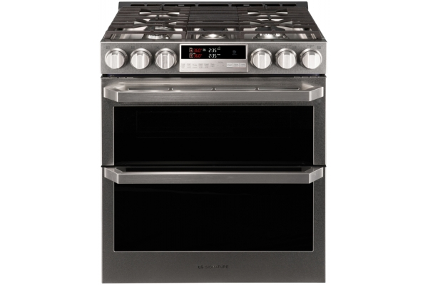 Large image of LG SIGNATURE Textured Steel Double Slide-In Gas Range - LUTG4519SN