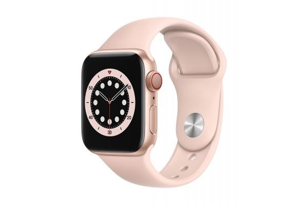 Large image of Apple Watch Series 6 GPS & Cellular 40mm Gold Aluminum Case With Pink Sand Sport Band - M02P3LL/A