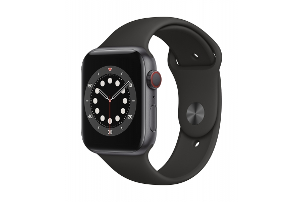 Large image of Apple Watch Series 6 GPS & Cellular 40mm Space Gray Aluminum Case With Black Sport Band - M02Q3LL/A