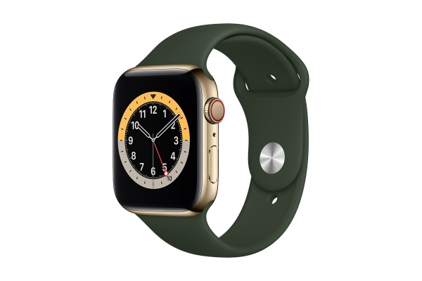 Large image of Apple Watch Series 6 GPS & Cellular 40mm Gold Stainless Steel Case With Cyprus Green Sport Band - M02W3LL/A